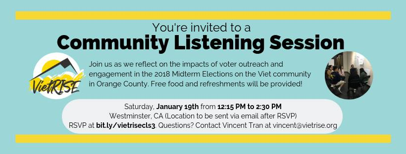 Attend the VietRISE Community Listening Session on Saturday, January 19th!
