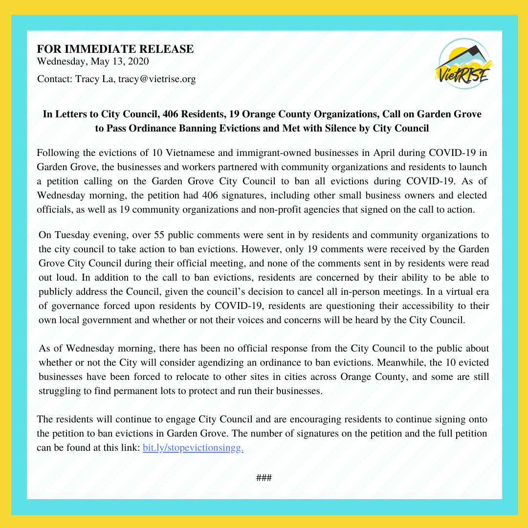 PRESS RELEASE: 406 Residents, 19 Orange County Organizations, Call on Garden Grove to Pass Ordinance Banning Evictions and Met with Silence by City Council