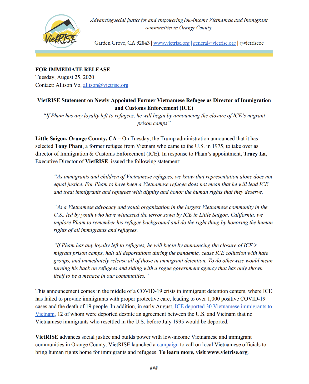VietRISE Statement on Newly Appointed Former Vietnamese Refugee as Director of Immigration and Customs Enforcement (ICE)