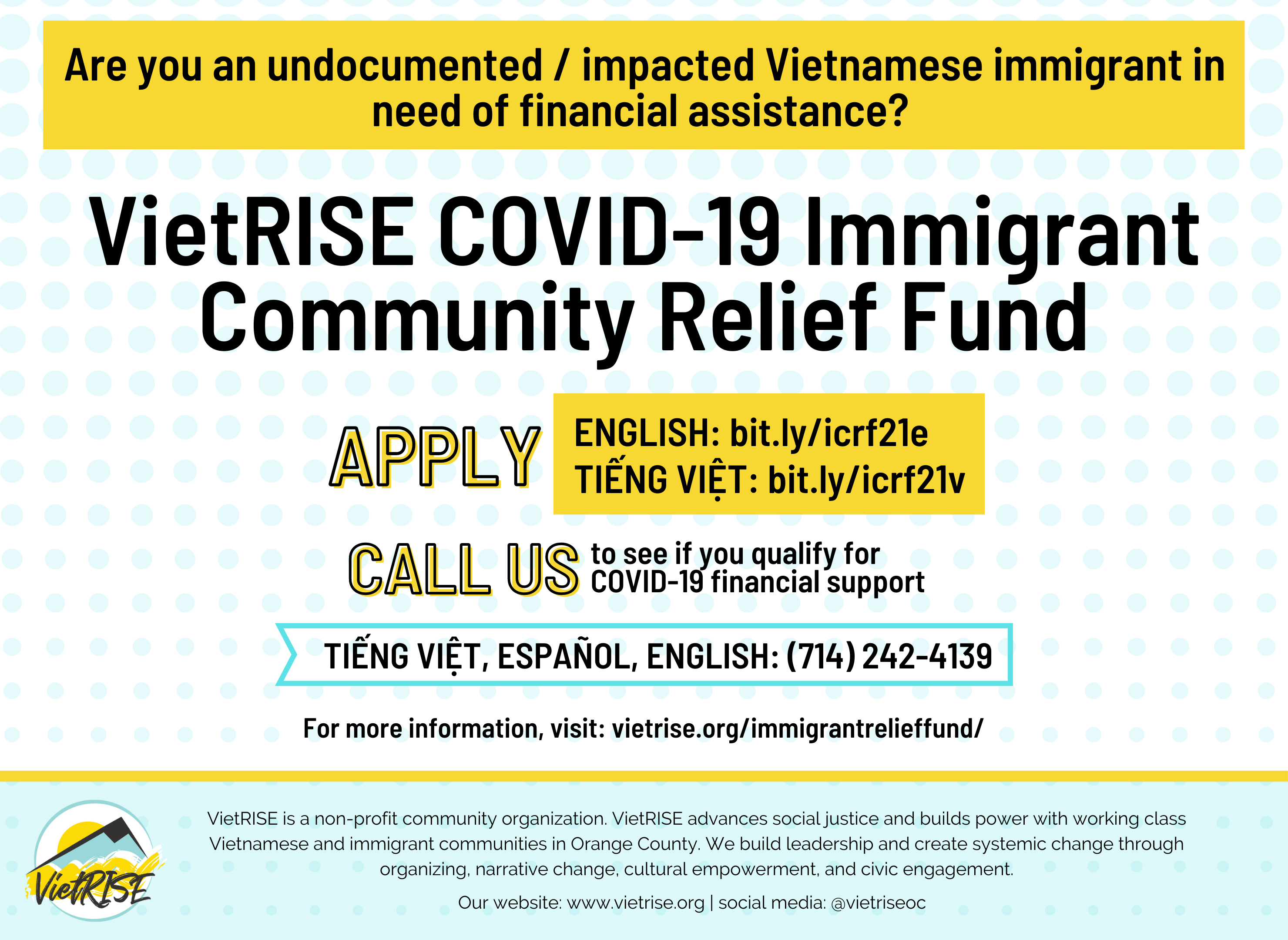 Apply for our Immigrant Community Relief Fund: $800 per person